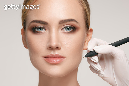 before plastic surgery operation, woman