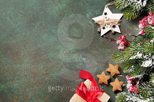 christmas background with decoration in snow
