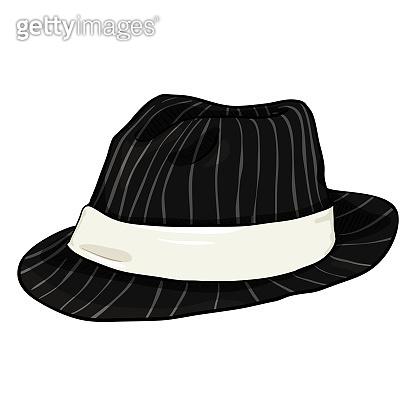 cb828bd9918c4 Vector Single Cartoon Black Fedora Hat with Gray Stripes and White Ribbon