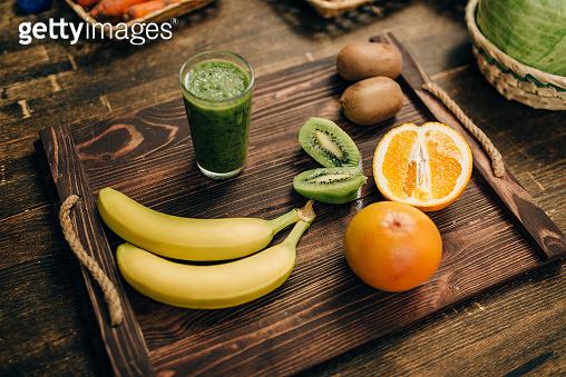 Fruits, vegetables, juice