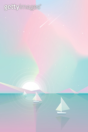 Colorful summertime sky with yachts