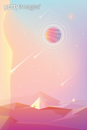 Bright colorful unusual planet with pyramid structures