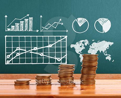 coin graph business concept