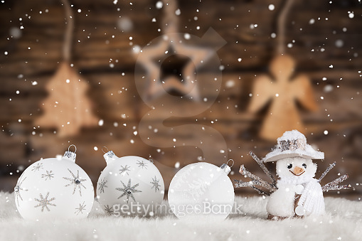 Christmas Snow and wood Background
