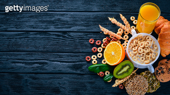 On wooden background (food)