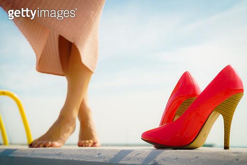 Red high heels & girl
