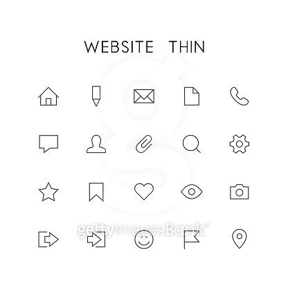 Thin icon set