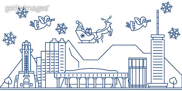 winter city skyline, illustration