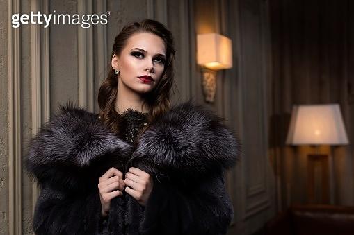 beautiful girl in a fur