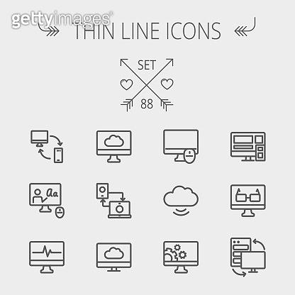Thin line icon set