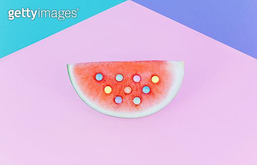 watermelon on pastel