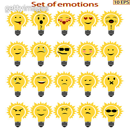 Set of emotion cartoon light bulb. Smiley icons with different emotions.  Icons with different characteristic facial expressions. Mood.