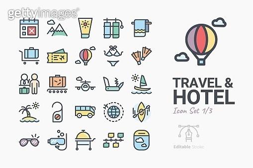 Line icons - Travel & Hotel