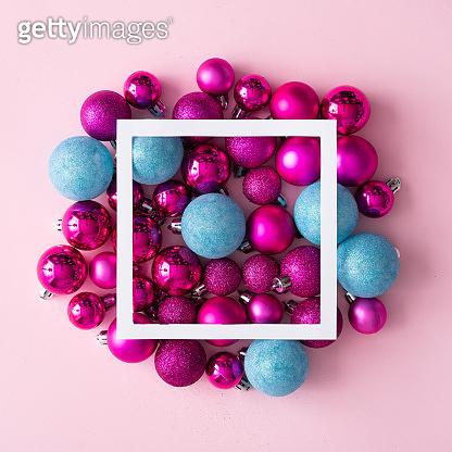 Christmas balls and gift box