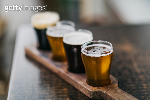 Close-up shot of a variety of beers