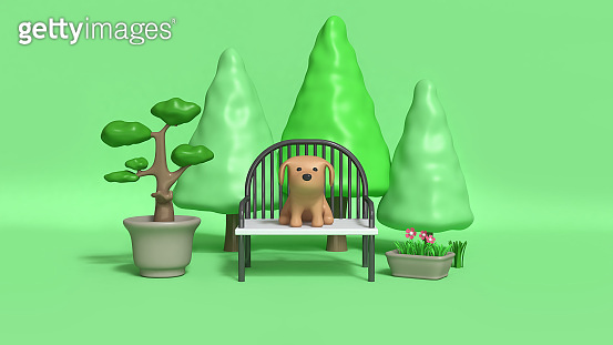 Brown dog, park, 3d rendering