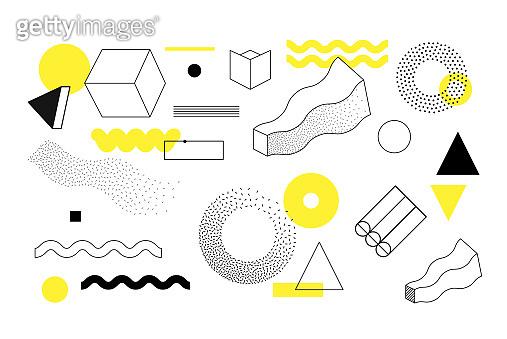 Halftone geometric shapes set