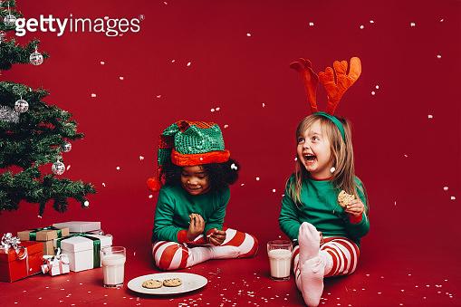 Kids having fun Christmas party