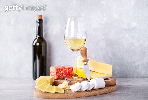 Cheese served with white wine