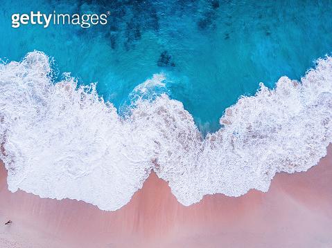Komodo pink beach aerial view