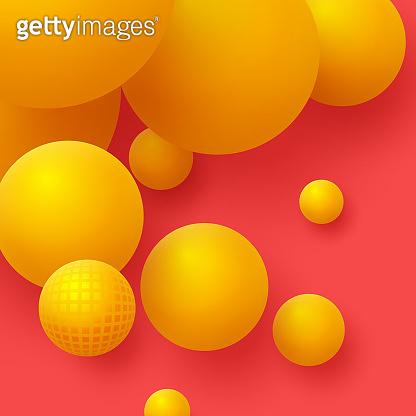 3d yellow balls