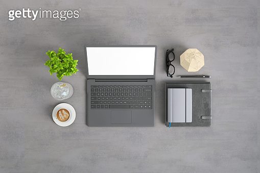 top view office table