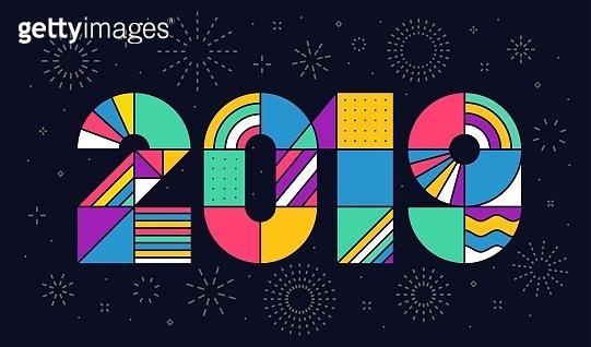 Happy new year geometric typography