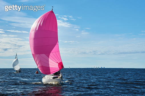 Yacht with pink spinnaker