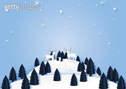 Paper cut winter landscape