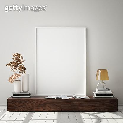 Poster frame in modern interior background