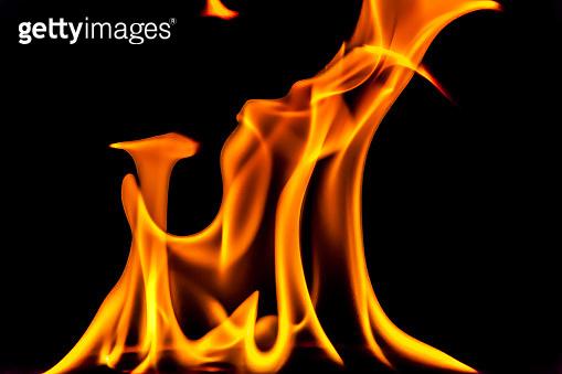 Flames glow