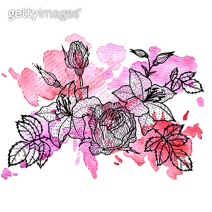 floral element at watercolor