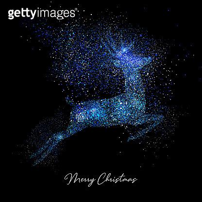 Merry Christmas blue & gold glitter