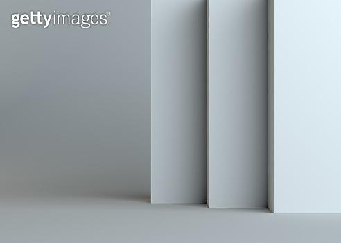 White empty walls on gray background