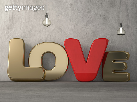 Word love over background with reflection. 3D