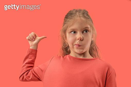 Cute little girl in coral dress
