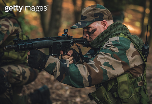 Brave Young Soldier in Forest