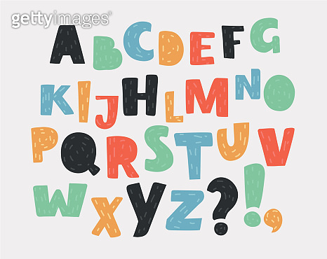 Hand drawn english alphabet