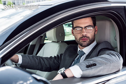 Businessman and car