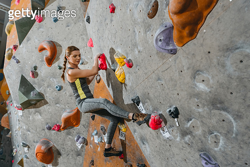 climbing wall with grips