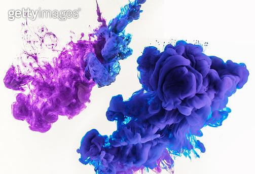 blue and purple smoke