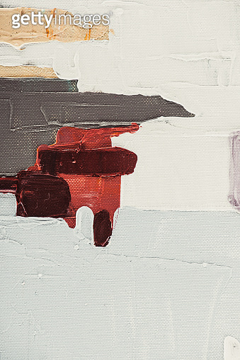 close up of beige and burgundy brush strokes on abstract oil