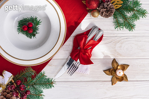 Top view of christmas decor and plate