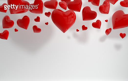 Glossy shiny hearts