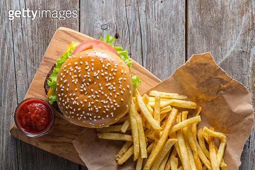 fast food on the wood