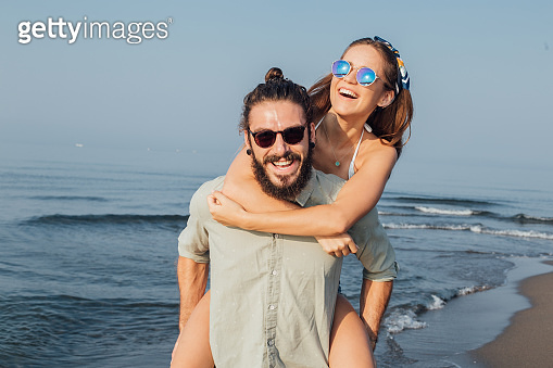 Couple having fun at the beach