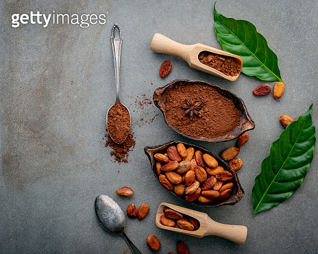 Cocoa powder and cacao beans