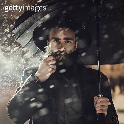 bearded man, umbrella