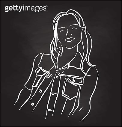 Chalkboard cartoon line art