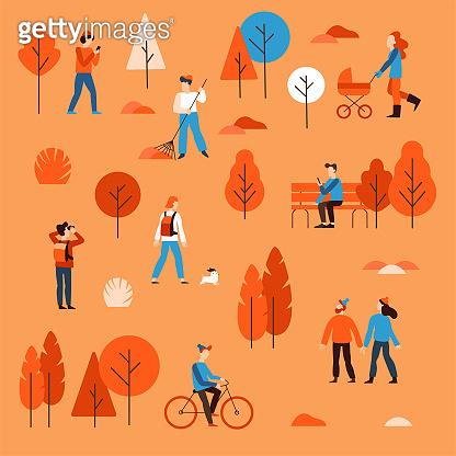 People walking in the public autumn